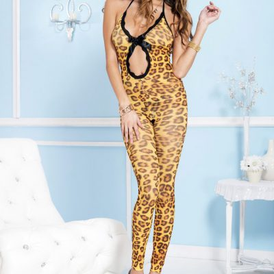 cheetah print footless bodystocking