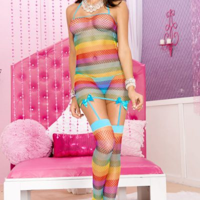 Rainbow Net Garter Dress with Attached Stockings