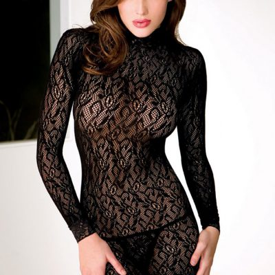 Long Sleeve Turtle Neck Lace Dress
